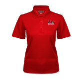 State Ladies Red Dry Mesh Polo-Official Logo