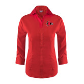 Ladies Red House Red 3/4 Sleeve Shirt-Redhawk Head