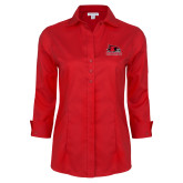 Bookstore Ladies Red House Red 3/4 Sleeve Shirt-Primary Logo
