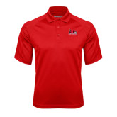 State Red Textured Saddle Shoulder Polo-Official Logo