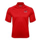 Red Textured Saddle Shoulder Polo-Official Logo