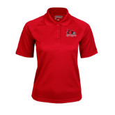 State Ladies Red Textured Saddle Shoulder Polo-Official Logo