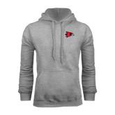 Grey Fleece Hoodie-Redhawk Head