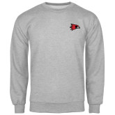 Grey Fleece Crew-Redhawk Head