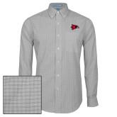 Bookstore Mens Charcoal Plaid Pattern Long Sleeve Shirt-Hawk Head