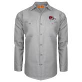 Red Kap Light Grey Long Sleeve Industrial Work Shirt-SEMO Logo Embroidery