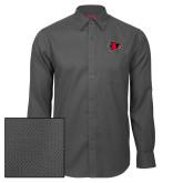 Bookstore Red House Dark Charcoal Diamond Dobby Long Sleeve Shirt-Hawk Head