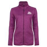Bookstore Dark Pink Heather Ladies Fleece Jacket-Primary Logo