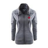 Ladies Sport Wick Stretch Full Zip Charcoal Jacket-Redhawk Head