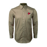 Khaki Twill Button Down Long Sleeve-Redhawk Head