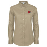 Ladies Khaki Twill Button Down Long Sleeve-Redhawk Head