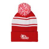 Bookstore Red/White Two Tone Knit Pom Beanie w/Cuff-SEMO Logo Embroidery