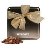State Deluxe Nut Medley Gold Medium Tin-Redhawks Engraved