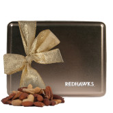 State Deluxe Nut Medley Gold Large Tin-Redhawks Engraved