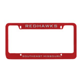 Metal Red License Plate Frame-Redhawks