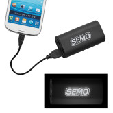 Bookstore LIGHT UP LOGO Power Bank-SEMO Wordmark Embroidery Engraved