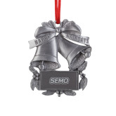 Bookstore Pewter Holiday Bells Ornament-SEMO Wordmark Embroidery Engraved
