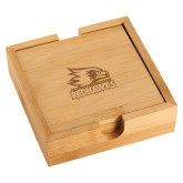 Bookstore Bamboo Coaster Set-Primary Logo Engraved