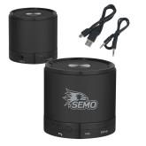 Bookstore Wireless HD Bluetooth Black Round Speaker-SEMO Logo Embroidery Engraved