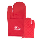 Bookstore Quilted Canvas Red Oven Mitt-SEMO Logo for Vinyl