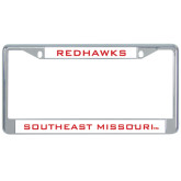 Metal License Plate Frame in Chrome-Redhawks