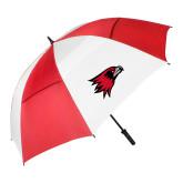 Bookstore 62 Inch Red/White Vented Umbrella-Hawk Head