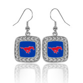 Crystal Studded Square Pendant Silver Dangle Earrings-Official Outlined Logo