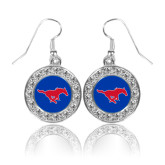 Crystal Studded Round Pendant Silver Dangle Earrings-Official Outlined Logo