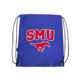 Nylon Royal Drawstring Backpack-SMU w/Mustang