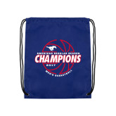 Royal Drawstring Backpack-AAC Regular Season Champions 2017 Mens Basketball Lined Ball