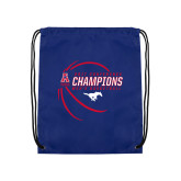 Royal Drawstring Backpack-2017 AAC Conference Champions - Mens Basketball Contour Lines