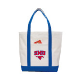 Contender White/Royal Canvas Tote-SMU w/Mustang