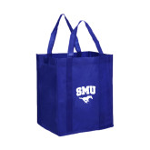 Non Woven Royal Grocery Tote-SMU w/Mustang