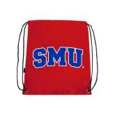 Nylon Red Drawstring Backpack-Block SMU