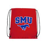 Nylon Red Drawstring Backpack-SMU w/Mustang