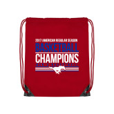 Red Drawstring Backpack-2017 AAC Regular Season Mens Basketball Champions Stacked