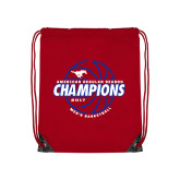 Red Drawstring Backpack-AAC Regular Season Champions 2017 Mens Basketball Lined Ball