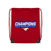 Red Drawstring Backpack-2017 AAC Regular Season Champions - Mens Basketball Stencil