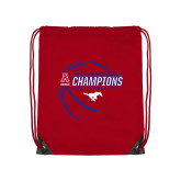 Red Drawstring Backpack-2017 AAC Conference Champions - Mens Basketball Contour Lines