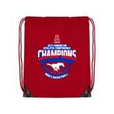 Red Drawstring Backpack-2017 AAC Conference Champions - Mens Basketball Arched Shadow