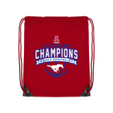 Red Drawstring Backpack-2017 AAC Conference Champions - Mens Basketball Arched Banner