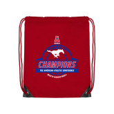 Red Drawstring Backpack-2017 AAC Conference Champions - Mens Basketball Banners