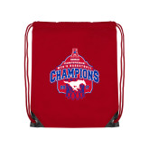 Red Drawstring Backpack-2017 AAC Conference Champions - Mens Basketball Arched Net