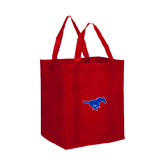Non Woven Red Grocery Tote-Official Outlined Logo