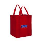Non Woven Red Grocery Tote-Block SMU