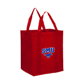 Non Woven Red Grocery Tote-SMU w/Mustang