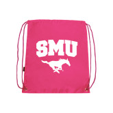 Pink Drawstring Backpack-SMU w/Mustang