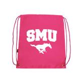Nylon Pink Drawstring Backpack-SMU w/Mustang