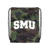 Nylon Camo Drawstring Backpack-Block SMU