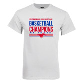 White T Shirt-2017 AAC Regular Season Mens Basketball Champions Stacked